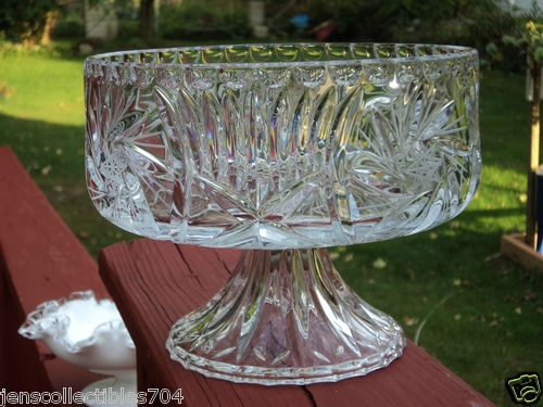 Red And Clear Crystal Serving Dishes