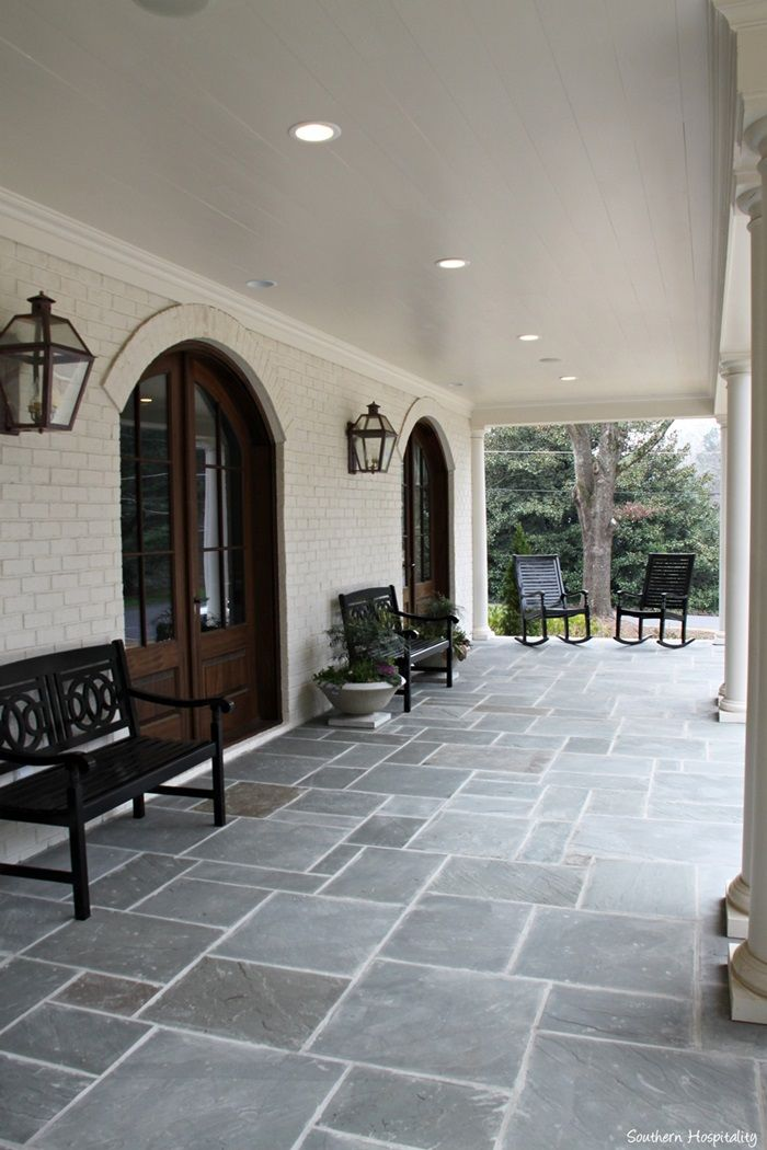 Pavers Bench Front Porch