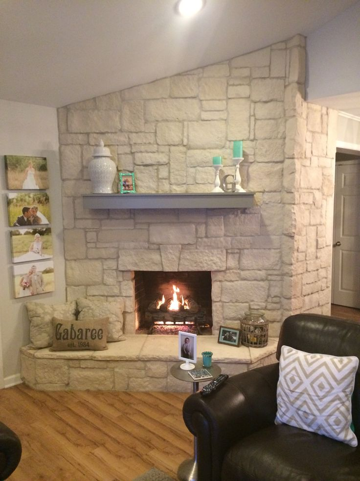 Austin Stone Fireplace Creates A Warm Home With Off White