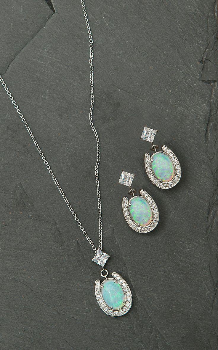 Montana Silversmiths Horseshoe With Opal Center Jewelry