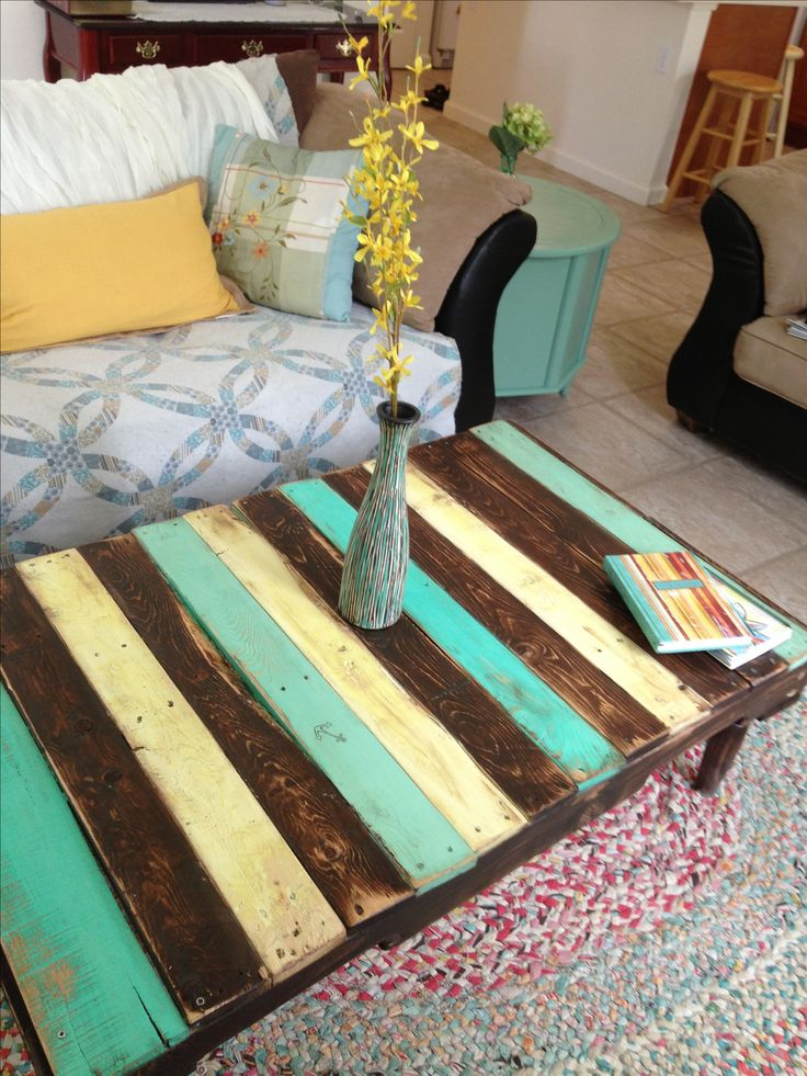 Painted Pallet Coffee Table I Made Nautical Colors And