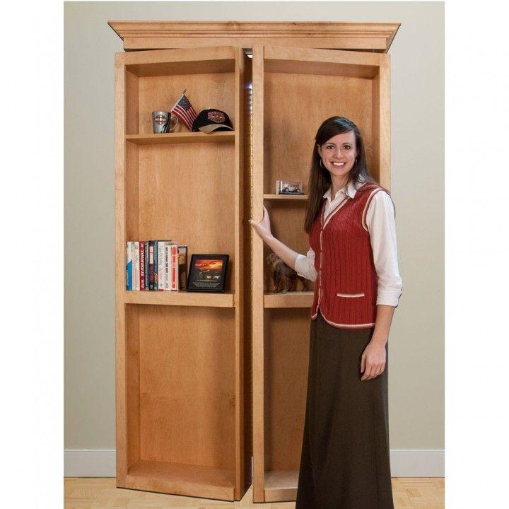 Invisidoor Bi Fold Bookcase Shelving Unit Kit Maple