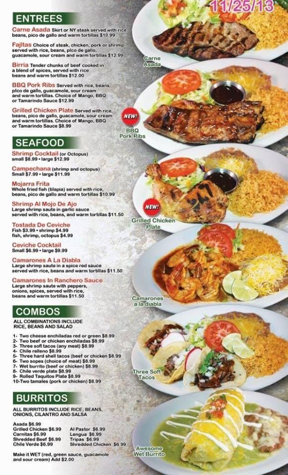 Menu Restaurant Ideas Mexican