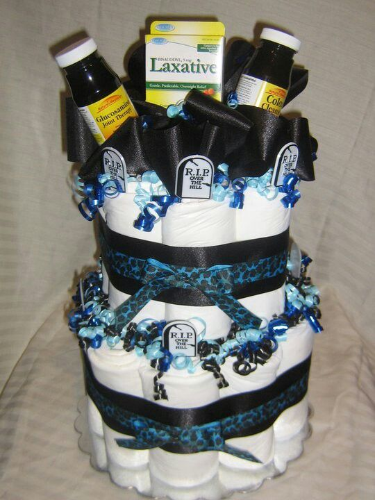 Over The Hill Diaper Cake Made Out Of Adult Depends Lol