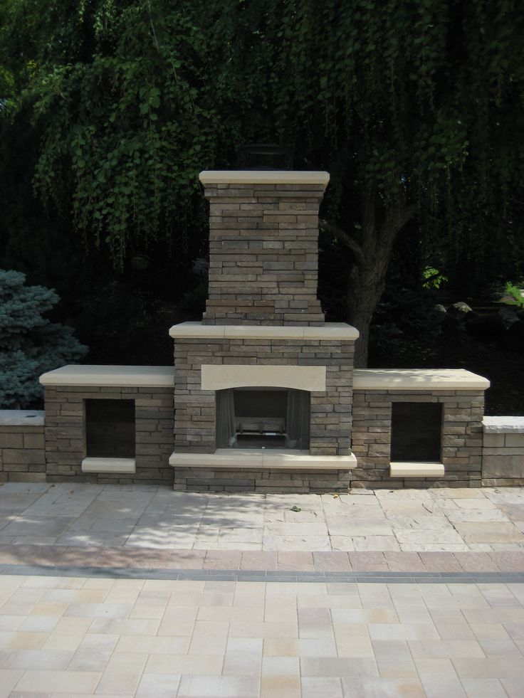 Belgard Bordeaux Fireplace With Wood Boxes With Belgard