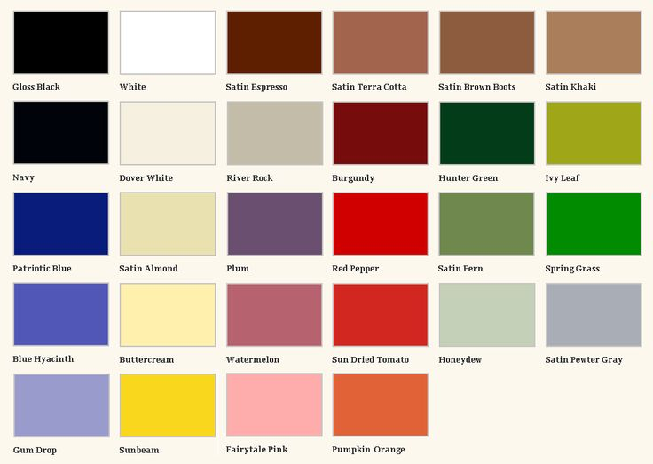 Krylon Fusion Spray Paint Color Chart