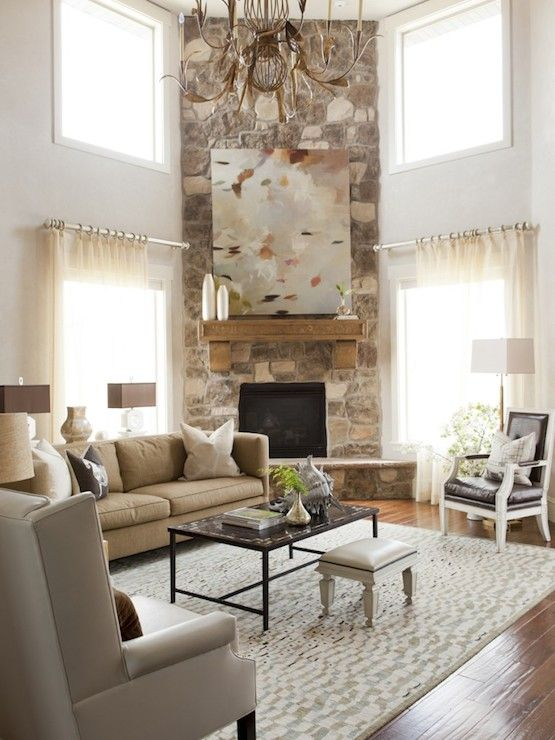 Ideas Fireplace Room Arrangement Corner Living