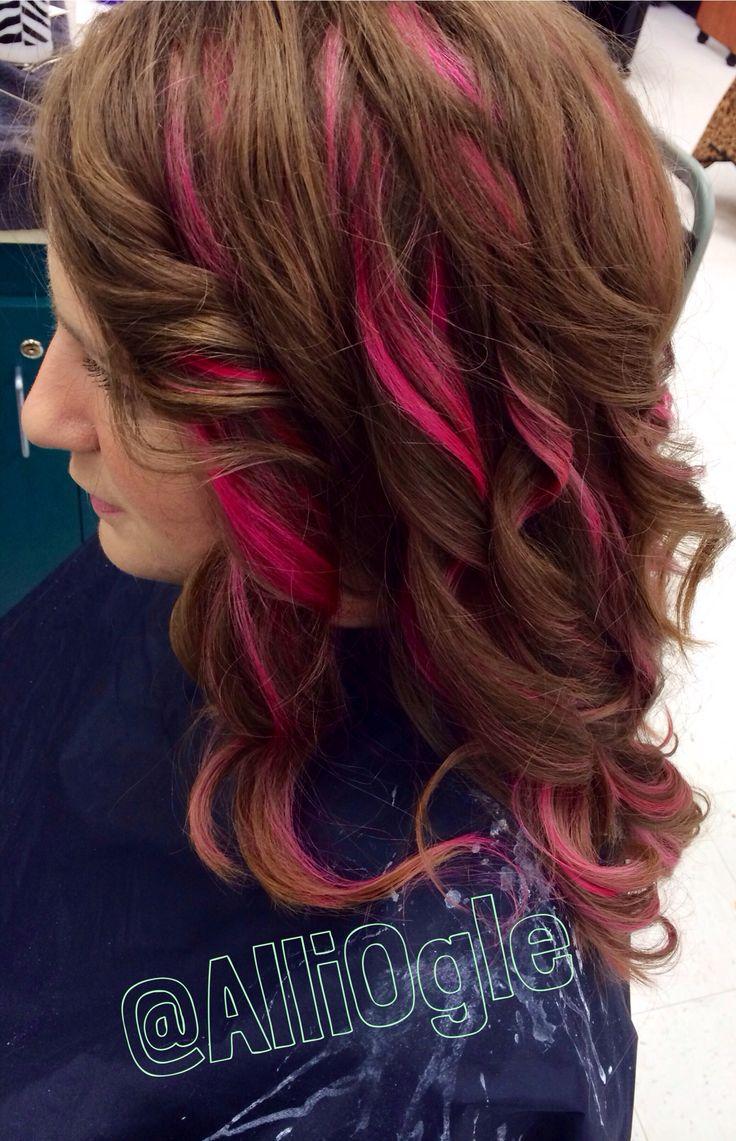 Brown Hair Light Pink Highlights