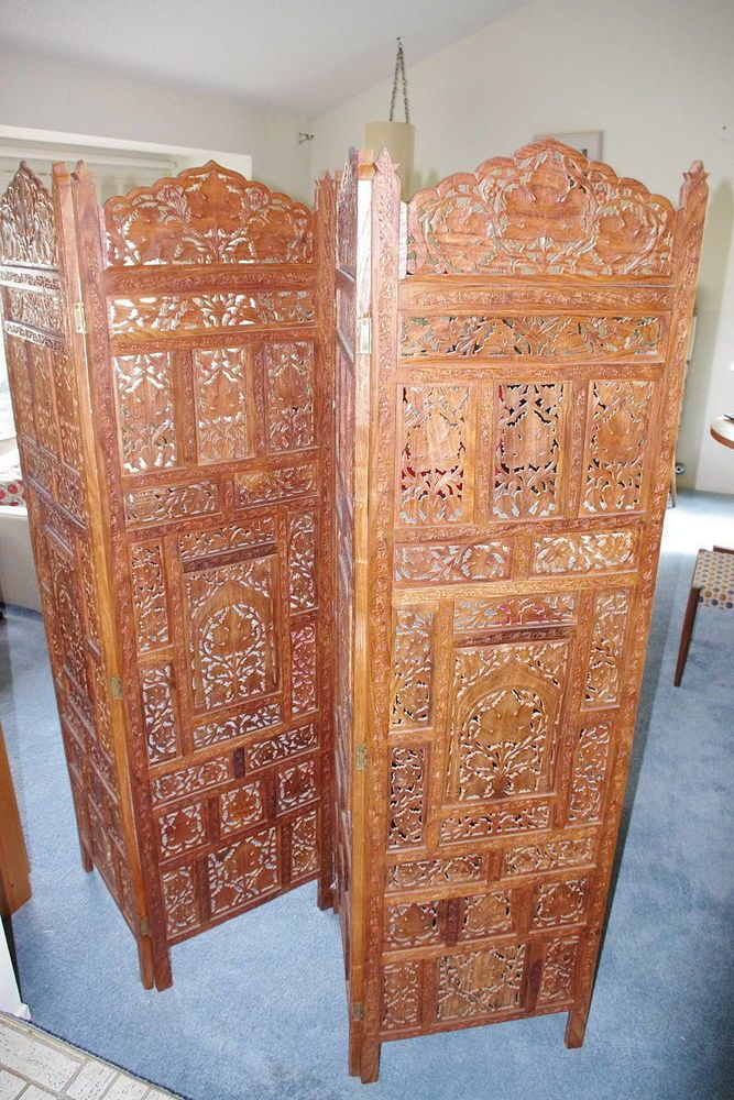 Thai Indonesian Hand Carved Wood Room Divider Screen 4