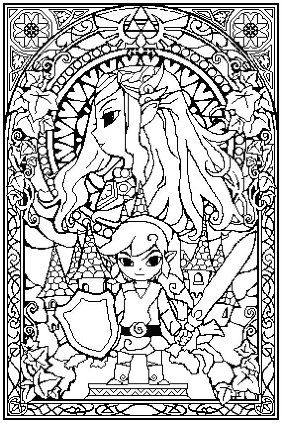 Sprite stitch board view topic zelda stained glass, i love my boyfriend coloring pages