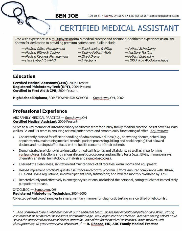 Medical Assistant Resume Objectives Medical Assistant