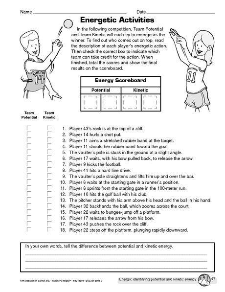 Mechanical 4th Worksheets Grade Energy