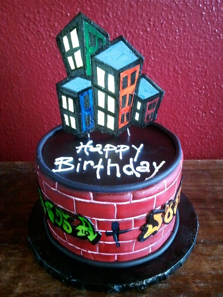 Graffiti Birthday Cake Birthday Cakes Pinterest