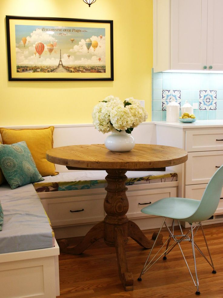 In This Kitchen Adjacent Breakfast Nook A Small Oak Table