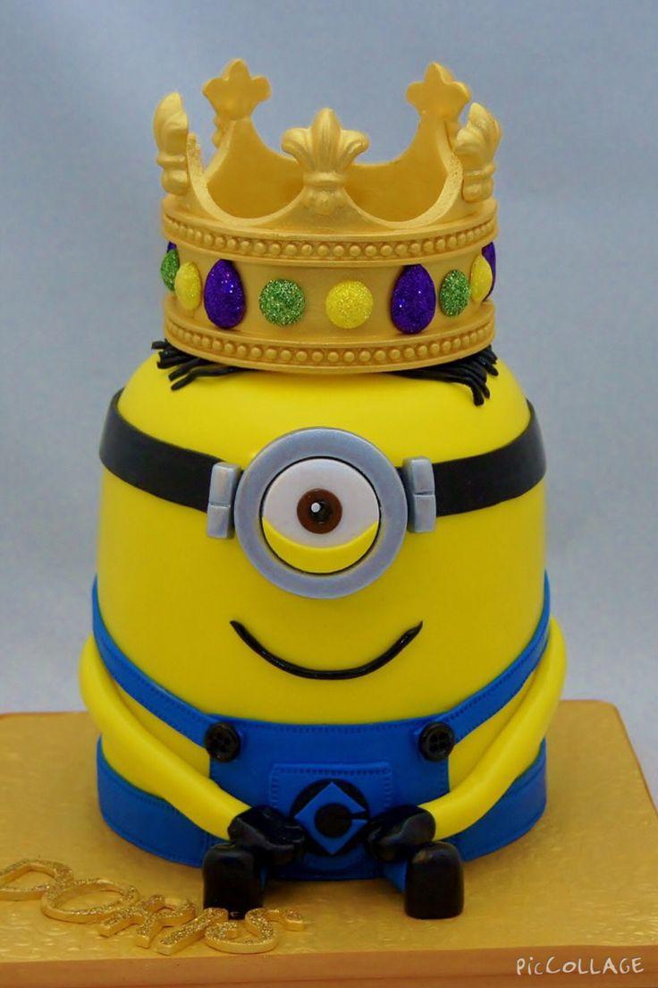 King Minion Birthday Cake With Crown Keepsake Topper 3d