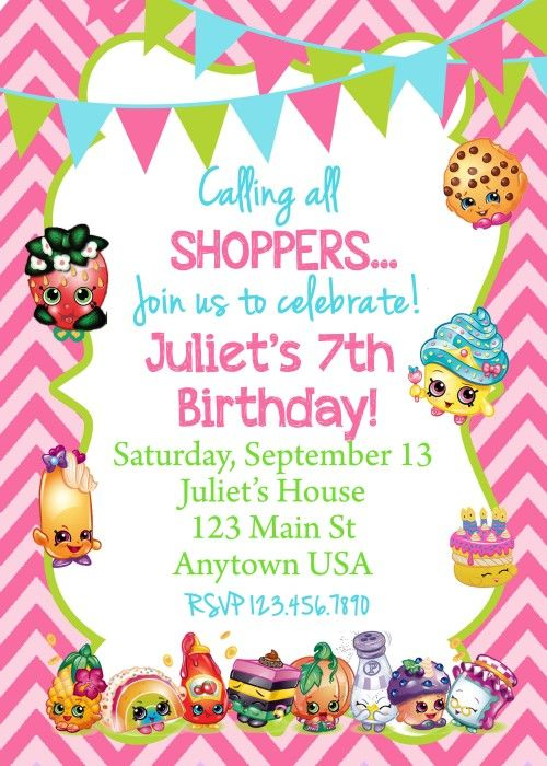 Printable Invitations Shopkins