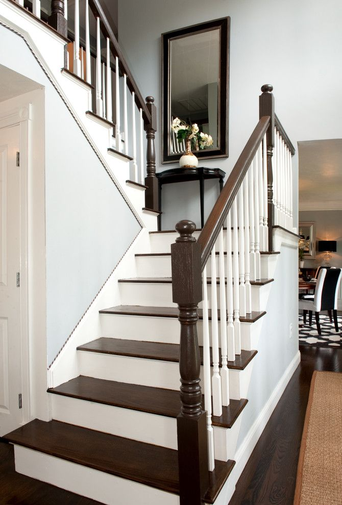 Two Tone Stain Stairs