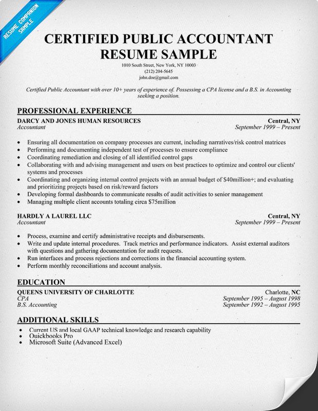 Cpa Resume Public To Private