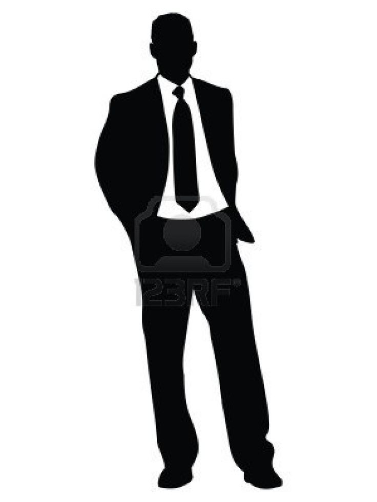 White Black And Suit Silhouette Leaning