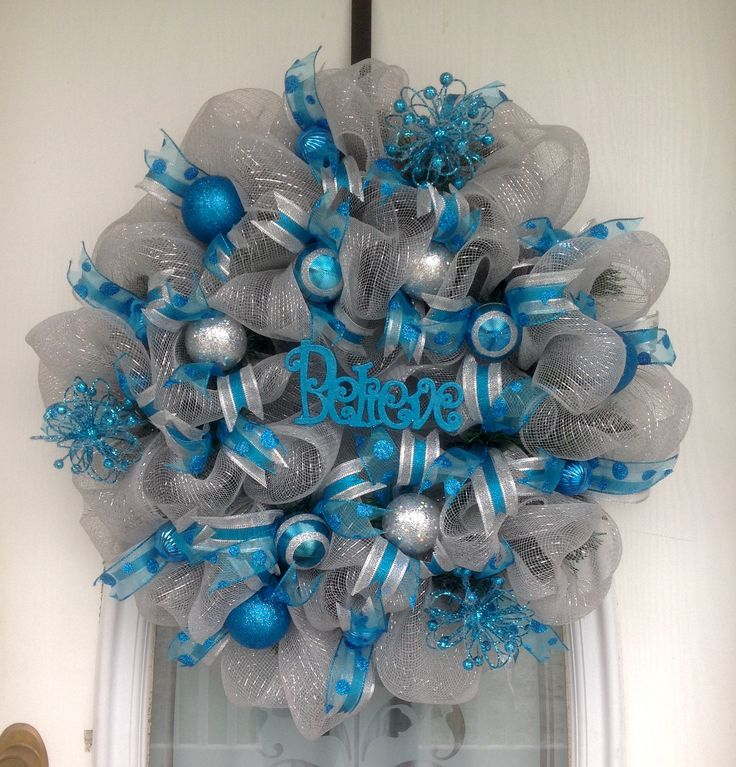 30 Quot Silver Deco Mesh On Evergreen Christmas Believe Wreath