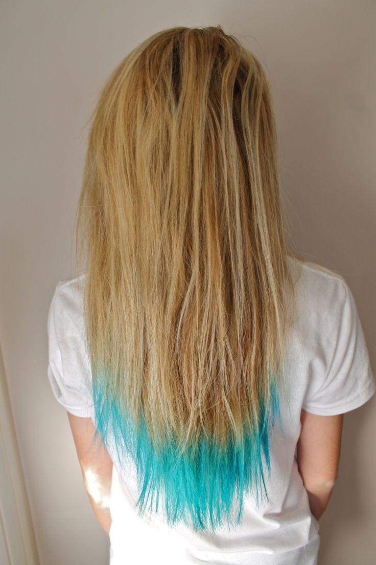 Brown Hair Light Blue Tips