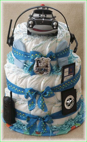 Police Diaper Cake Baby Shower Pinterest Diapers And