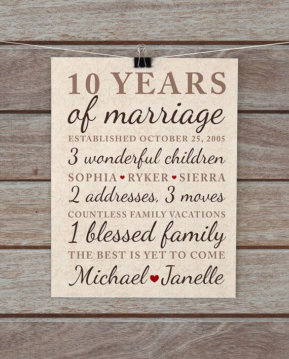 10 Year Marriage Anniversary Gift Ideas