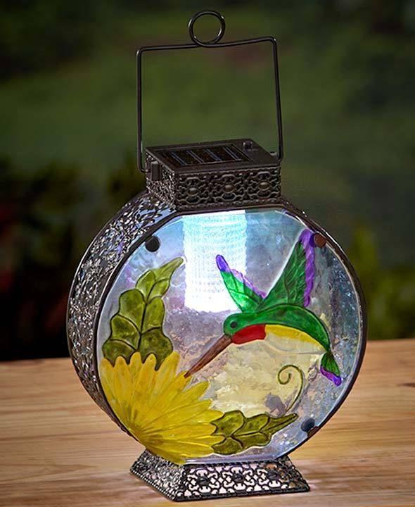 Stained Glass Solar Lantern Hummingbird Garden Amp Outdoor
