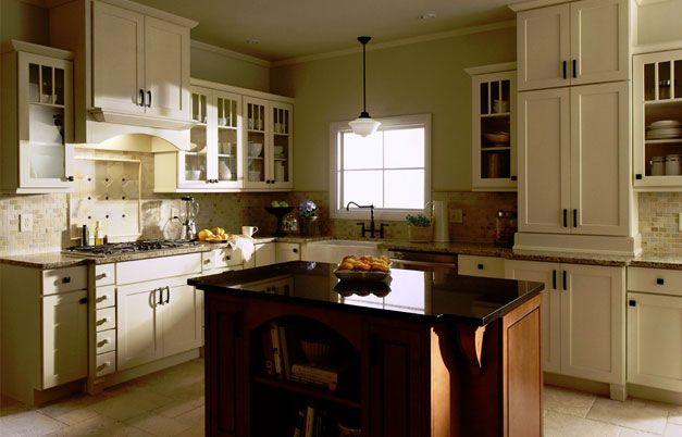 Shaker Painted Cream Kitchen Cabinets Dark Island
