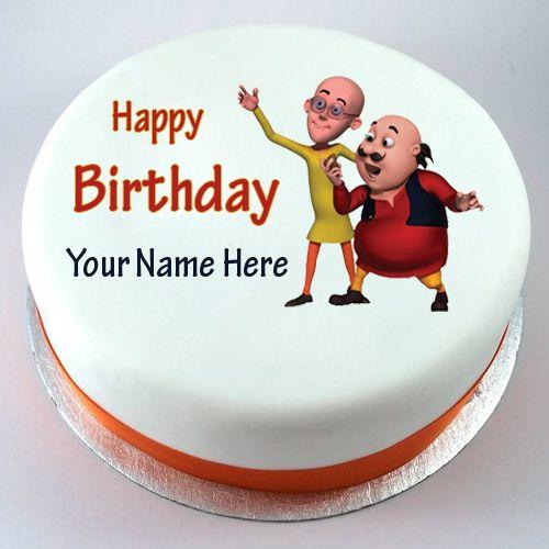 Happy Birthday Motu Patlu Cute Kids Cake With Your Nam