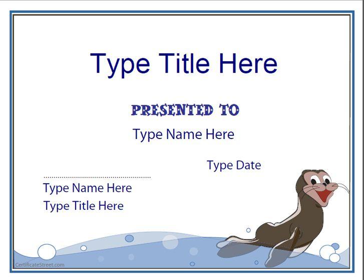 Blank Certificate Swimming Certificate Template