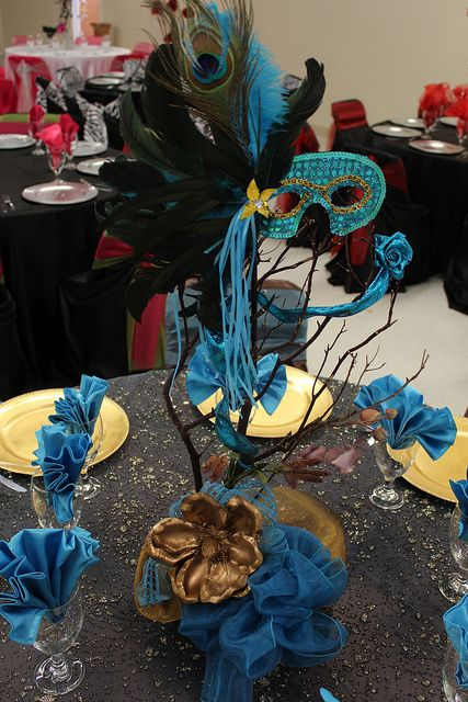 Deco Mesh Masquerade Table Centerpieces