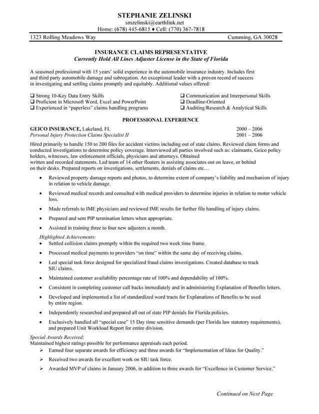 Claims Representative Resume