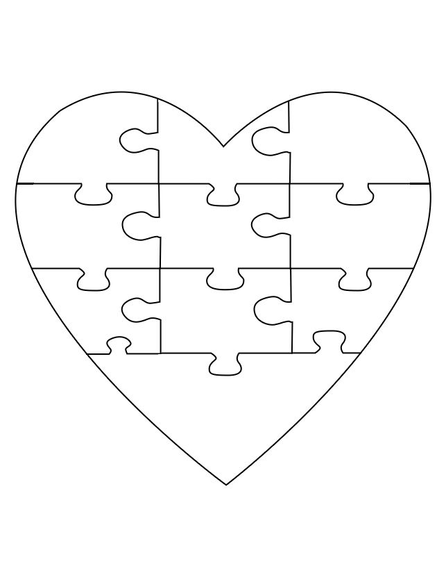4 piece heart puzzle pieces template printable