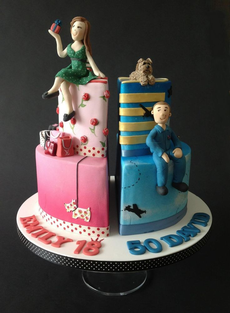 Two Birthday Cakes In One Cake Design Pinterest