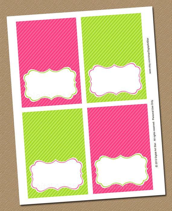Pink Lime Green Printable Buffet Cards Editable Bridal