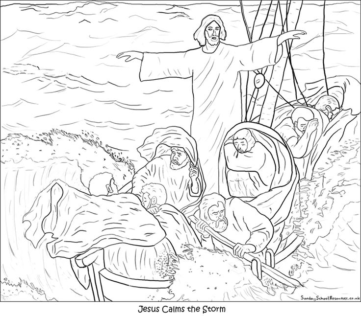 Story Bible Pages Coloring Calms Storm Jesus