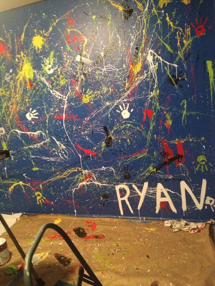 Ryan S Splatter Paint Wall For A Teenage Boy S Room My