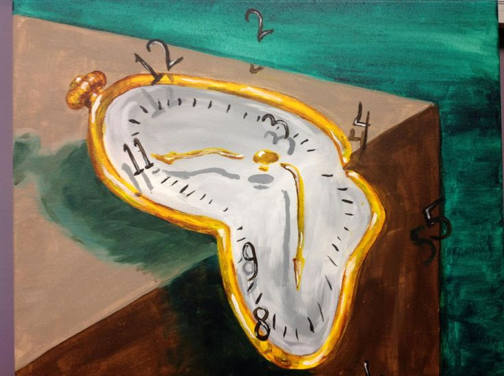 painted salvador dali melting clocks painting