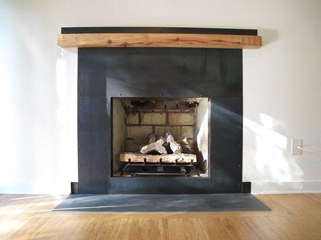 Metal Fireplace Surround W Raw Wood Mantel Open