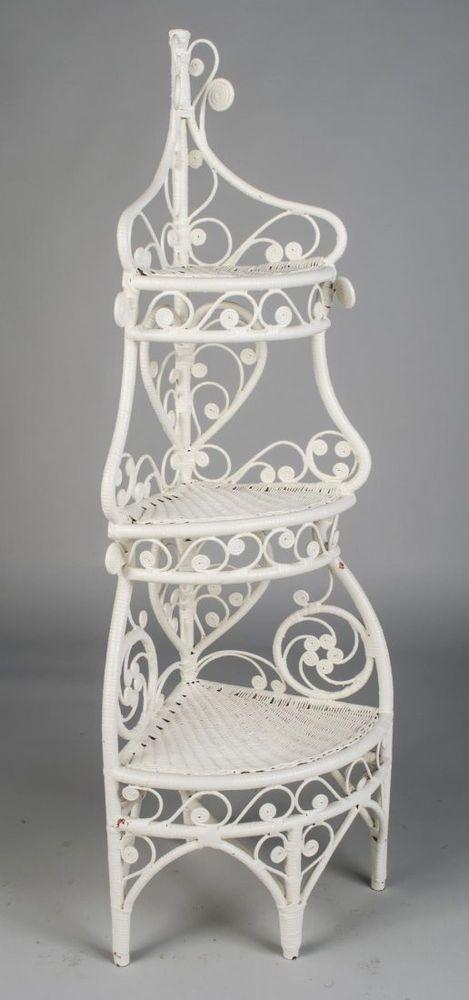 Ornate White Wicker Corner Etagere What Not Shelf Antique