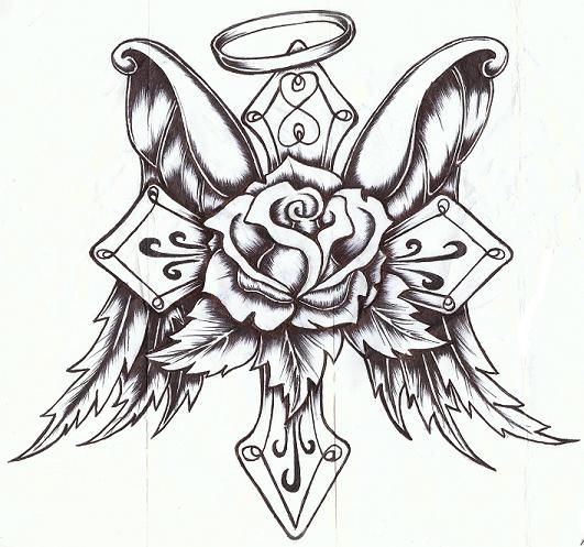 Cross Wings Hearts And Banner