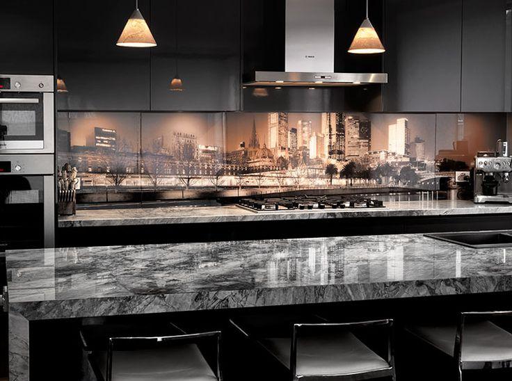Printed Glass Splashback Kitchen Design Melbourne