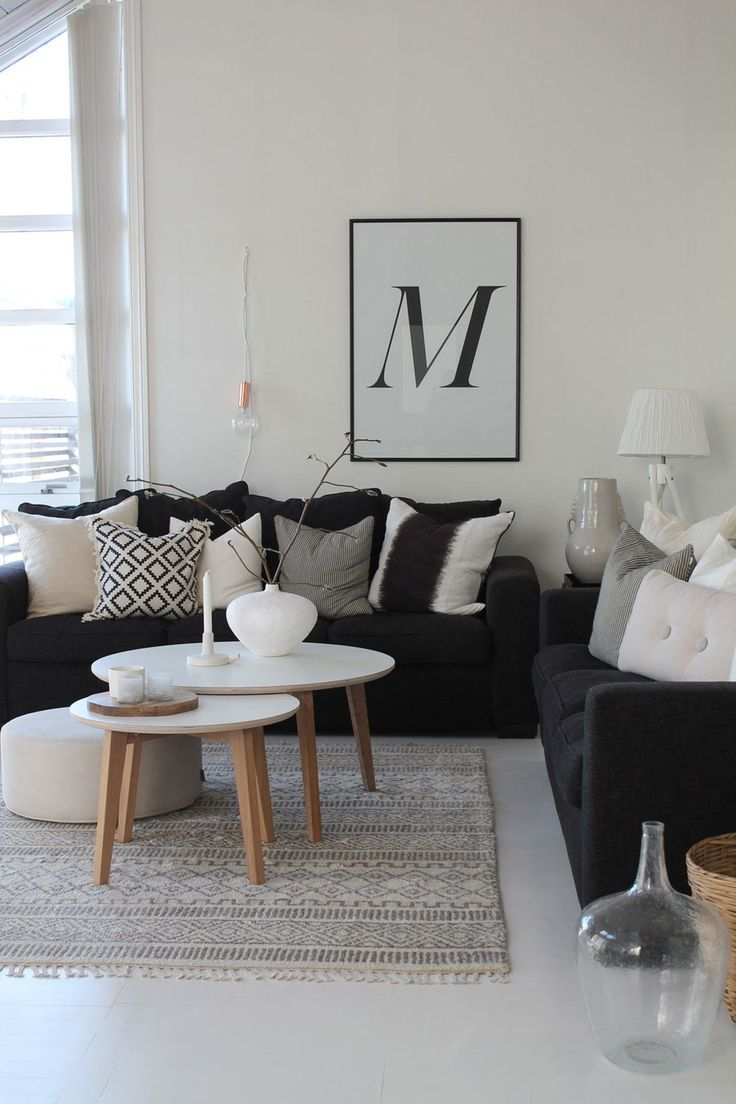 Black White Gray Yellow Living Room