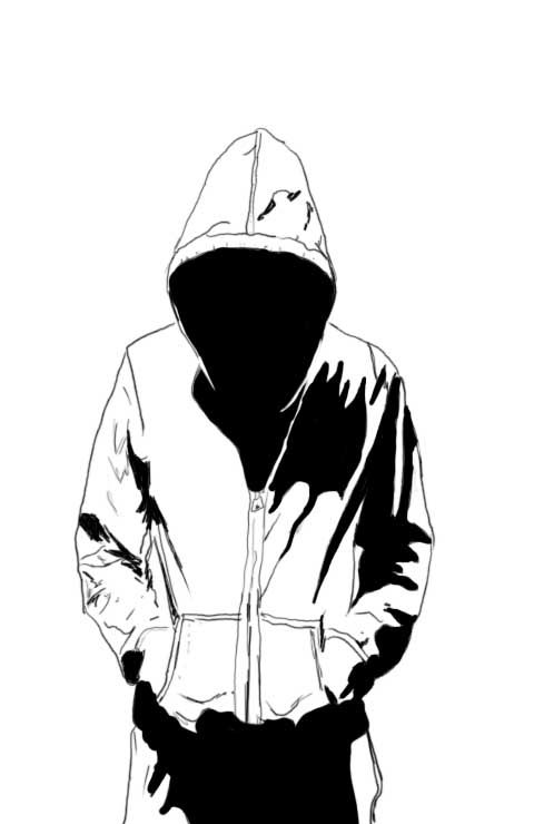 Mysterious Hooded Man Drawing