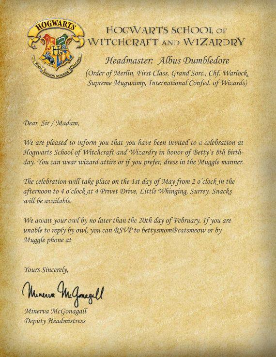 Harry Potter Hogwarts Printable Birthday By