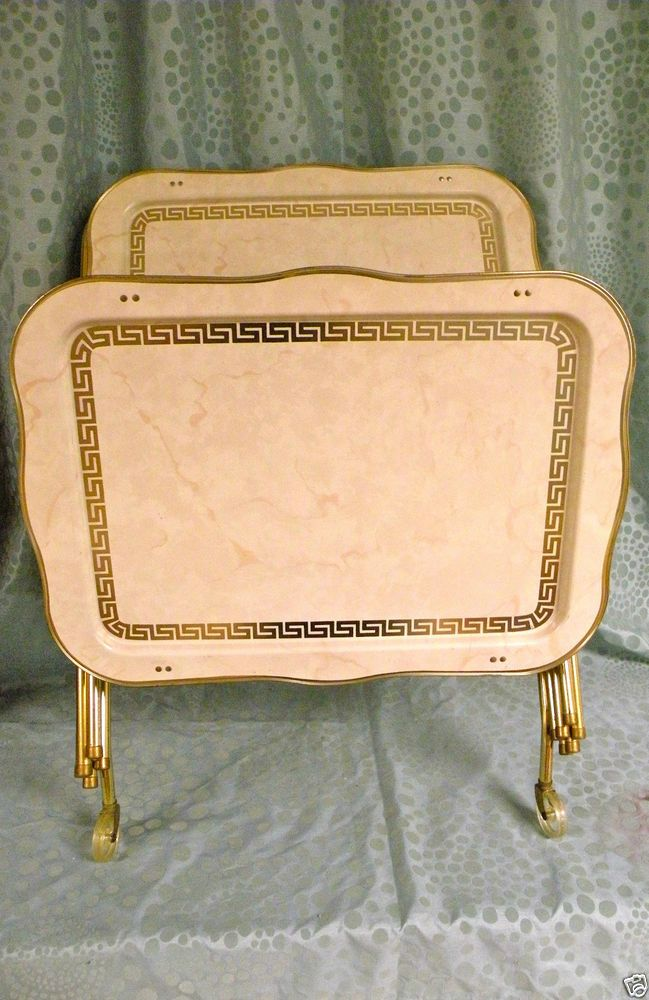 Vintage Mid Century Metal Tv Trays With Folding Legs