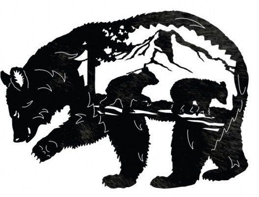 Bear Forest Silhouette Tattoo