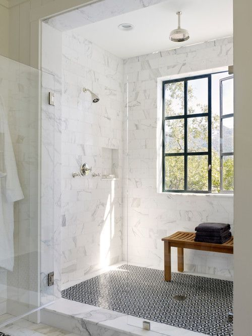 Beautiful Bathroom With Carrara Marble Tiles On The Wall