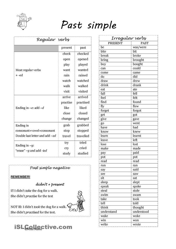 And Exercises Irregular Verbs Regular